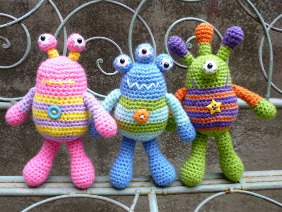 Bug Eyed Monsters Amigurumi Crochet Pattern, Tarquin, Theodore and Winston