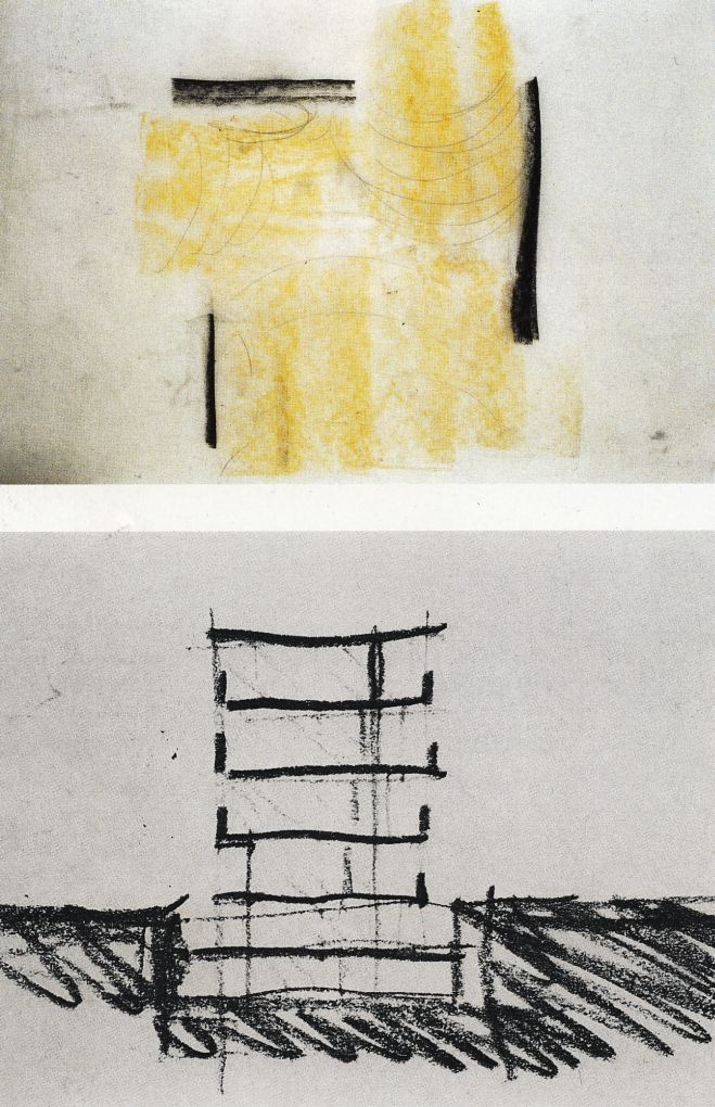 """""""PETER ZUMTHOR's buildings are powerful statements with minimal means, an approach even reflected in his sketches. Here sketches for the Bregenz Museum, a floor plan with light flooding in, and a simple section"""". Taken from http://cmuarch2013.wordpress.com/tag/sketching/"""