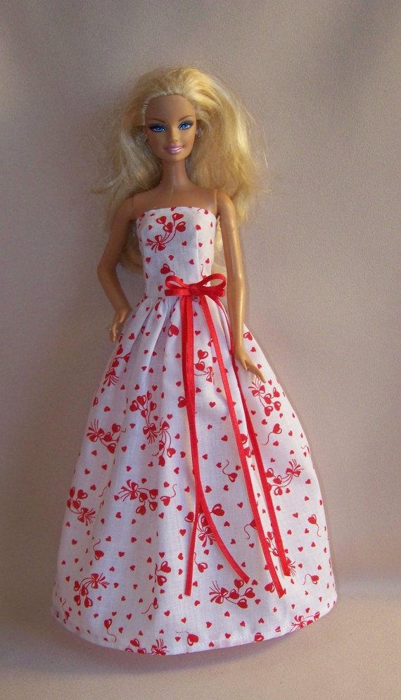 Handmade Barbie Clothes Valentine White With Red Hearts