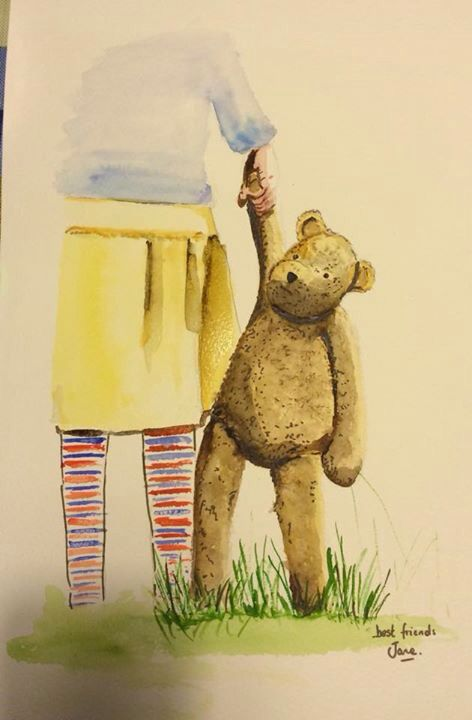 Best friends, watercolour on paper.