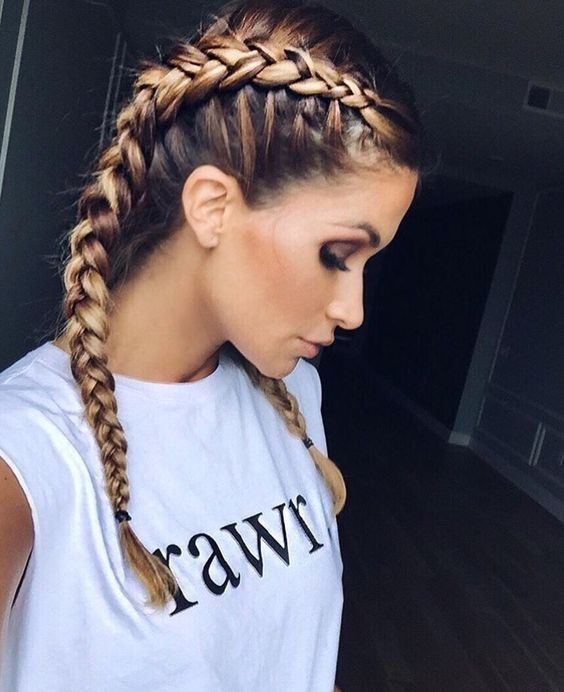 Grown up braids, two plaits bronde balayage two tone hair