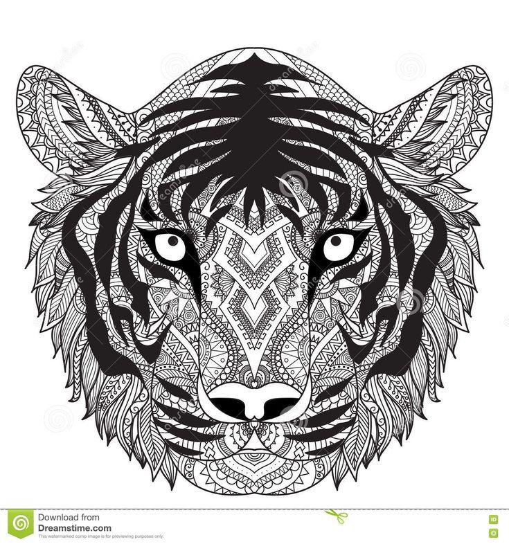 431 best coloring lion tiger images on pinterest adult coloring pages adult coloring and - Tigre mandala ...