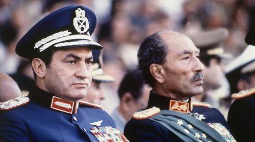 Hosni Mubarak and Anwar Sadat at a military parade in Cairo, moments before Sadat was assassinated, October 6, 1981