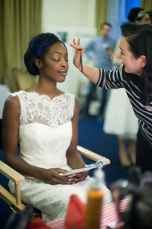 Amanda from WHAM Artists putting the final touches on one of our brides http://weddinghairandmakeupartists.com/