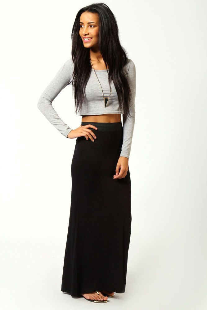 Boohoo Helena Contrast Waistband Jersey Maxi Skirt