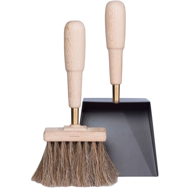 Eldvarm Brush And Shovel Set Emma Contemporary, Industrial, MidCentury Modern, Traditional, Transitional, Leather, Metal, Wood, Fireplace Element by Horne
