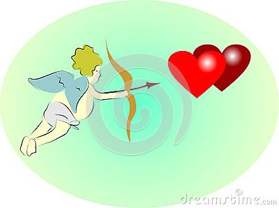 Vector illustration of Cupid with bow and hearts.