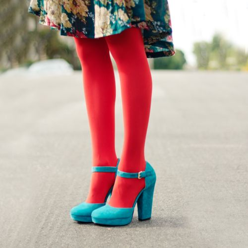 Color - teal heels, red tights, flower pattern knee length full skirt dress