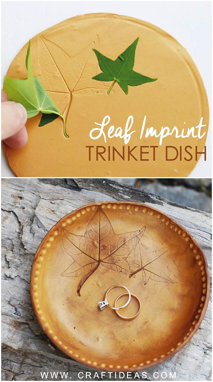 DIY Clay trinket dish with leaf imprints. Who needs expensive stamps when you can get free stamps from nature?!