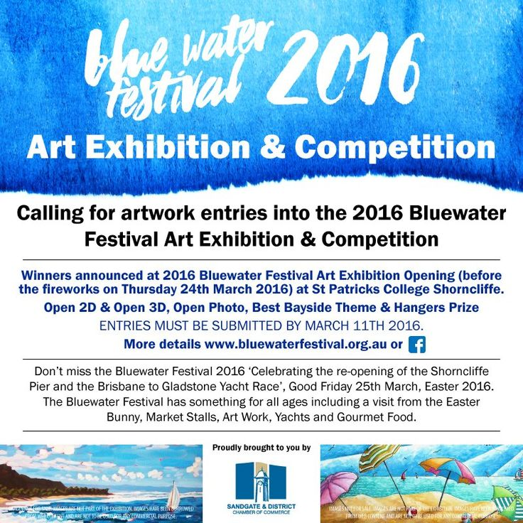 Don't miss the opening of the 2016 Bluewater Festival Art Exhibition & Competition on March 24th at St Patricks College Shorncliffe, Sandgate