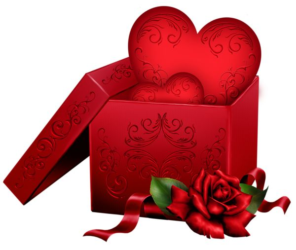 Transparent Gift Box With Heart And Rose PNG Clipart