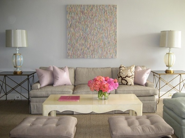 Pretty lounge room - swap pink for electric blue.