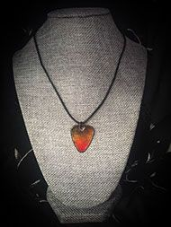 Orange, Red and Black Guitar Pick Necklace