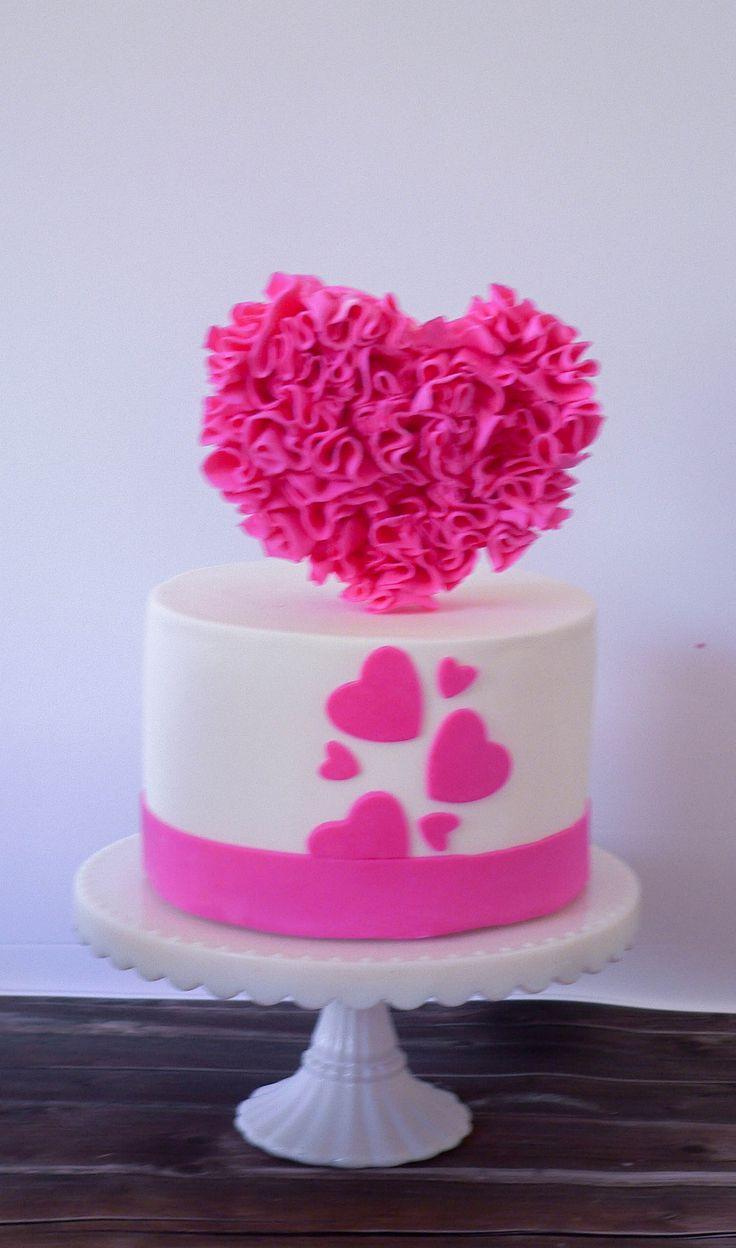 Ruffled Heart Cake by Cake Corner Hobart