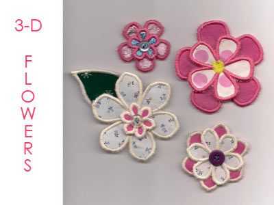 3D Flowers Machine Embroidery Designs http://www.designsbysick.com/details/3Dflower