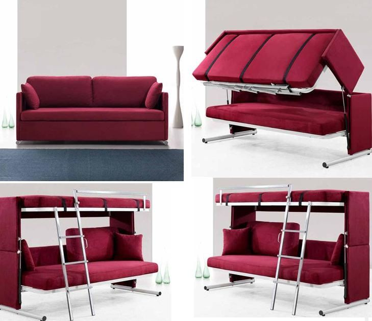 Compact bedroom fixtures ideas with magenta sofa bunk bed for Bedroom furniture for small bedrooms