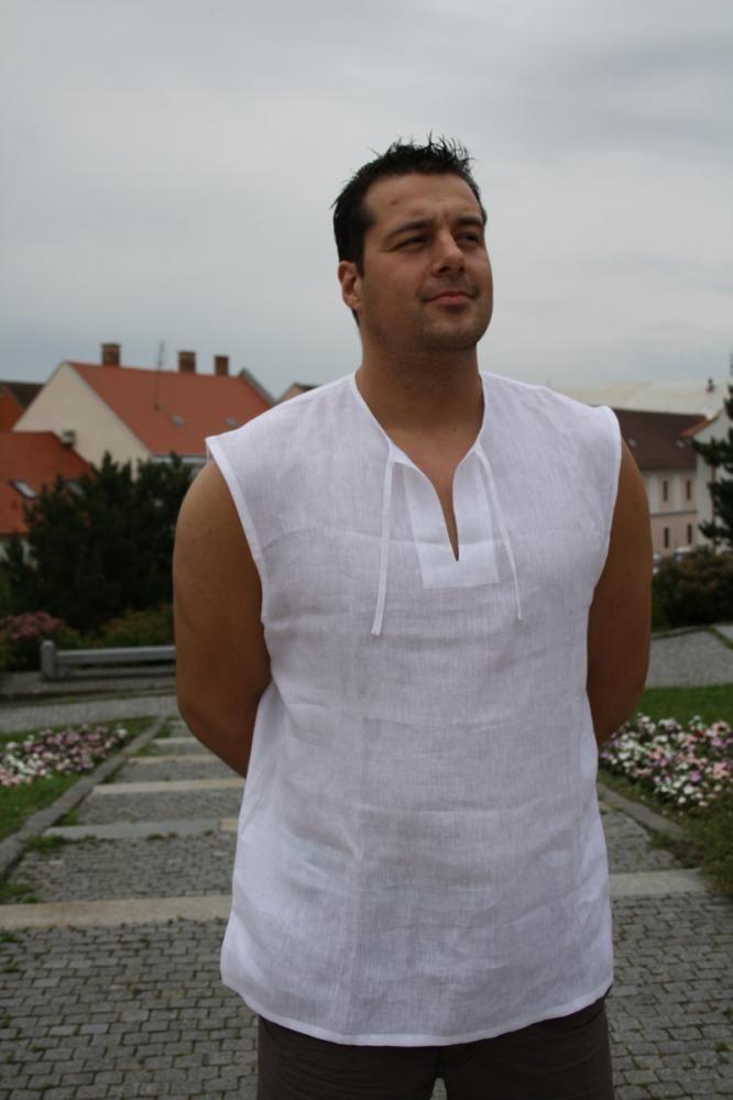Pánska košeľa bez rukávov. Mimoriadne vhodná na leto, ale aj ako spodná bielizeň na chladnejšie dni, univerzálny strih. Obmedzený počet kusov. Farba: biela Materiál: 100% ľan...
