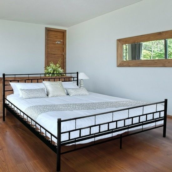 black super king size metal bed frame double wood slats sturdy base home bedroom - Double Size Bed Frame