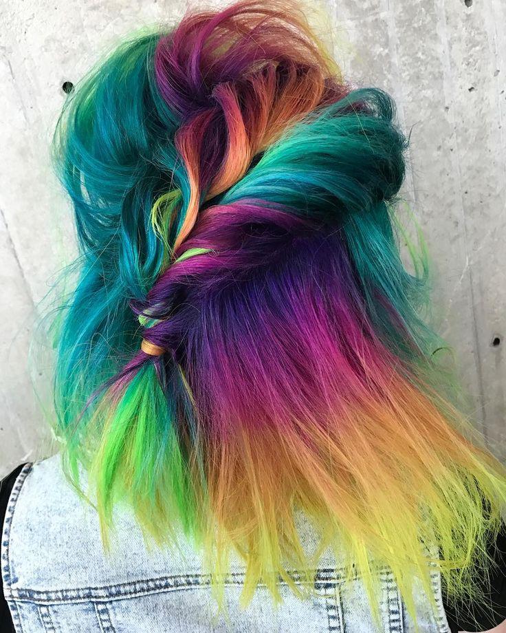 @bottleblonde76,@hairgod_zito and @mustafaavci are the artists, #pulpriot is the paint. #pulpriothair #braids #rainbowhair