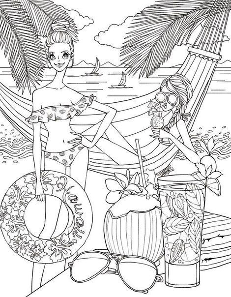 Beach Scene - vk.com | Ocean Crafts | Beach coloring pages, Color ...