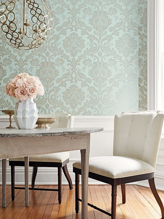 Thibaut Passaro Damask In Metallic Pewter On Seafoam Pattern #T89137 Book  Damask Resource 4