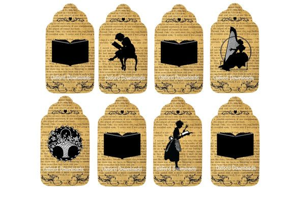 Booklovers Gift Tags Printable Gift Tags Book by OxfordDownloads