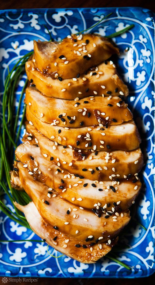 Teriyaki Chicken Breasts ~ Skinless chicken breasts poached in homemade teriyaki sauce, served with toasted sesame seeds. Quick and easy! ~ SimplyRecipes.com