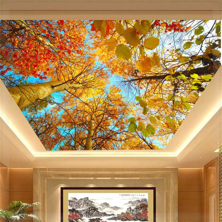 Foto mural murais teto outono grande natural folha papel for Ceiling mural wallpaper