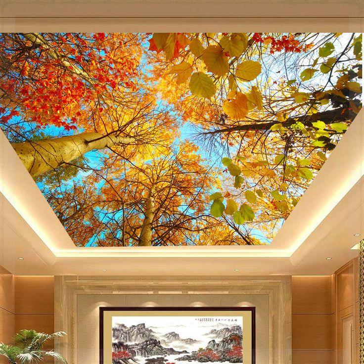 Foto Mural murais teto outono grande Natural folha papel de parede 3D papel de parede sala de estar personalizado murais 3D(China (Mainland))
