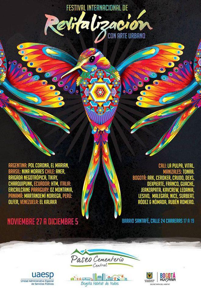 """Desde el 27 de noviembre al 5 de diciembre el arte urbano se toma el Barrio Santa Fé en el """"Festival internacional de Revitalización con arte urbano"""" en Bogotá."""