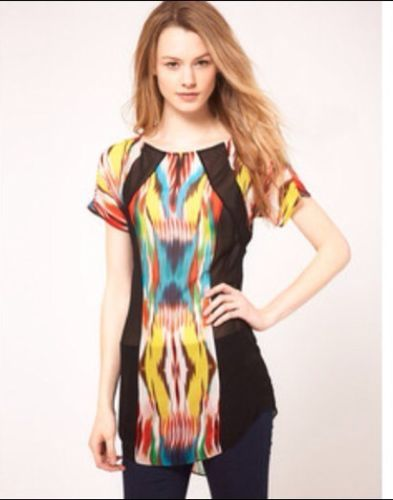 Silk By Warehouse Tunic Dress Black Stretched Ikat Print 12 Rrp£55 Sold Out New