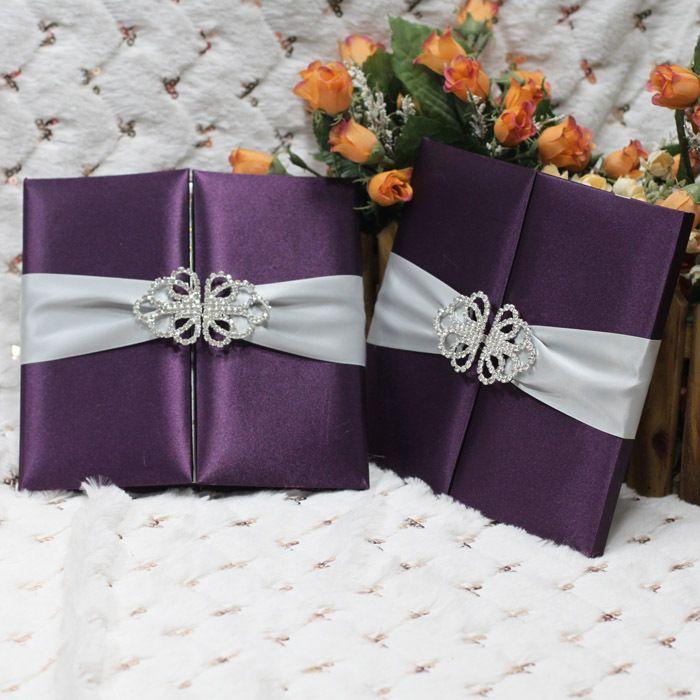 100 Pcs Fita de Seda Envoltório Bolso Convite de Casamento de Luxo Com Fivela Personalizado Cartões de Convite de Casamento Elegante Frete Grátis