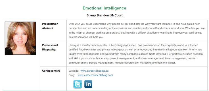 Emotional Intelligence: National Capital symposium speaker Oct 14-16