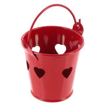 Hobbycraft 5.5 cm Metal Bucket in Heart Red