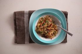Spaghetti with Bacon, Eggs and Toasted Crumbs---Paleo-ize with zucchini noodles and other misc swaps.