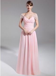 Corte A/Princesa Hombros caídos Hasta el suelo Chifón Vestido de noche con Volantes Bordado (008014708) - JJsHouse