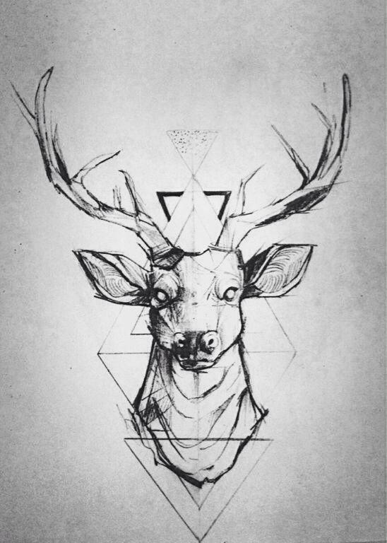 geometric deer tattoo design #geometricdeertattoo