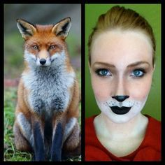 Fox make up. Good reference. Could be applied to other animals too.