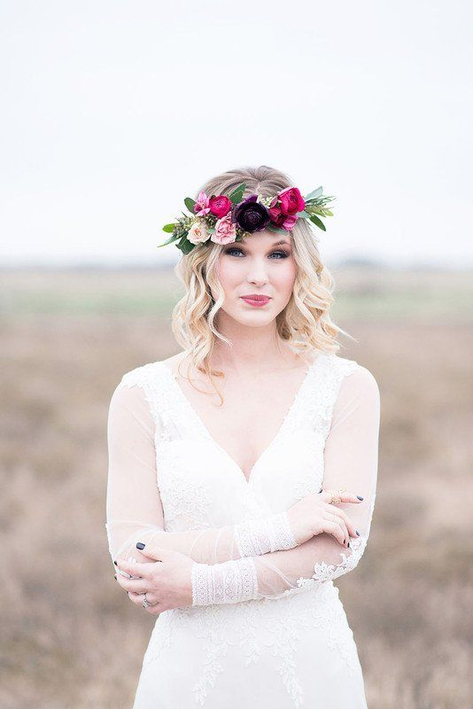 Boho #wedding hairstyle idea - loose waves with pink, floral crown - #bohowedding  {Maxwell + Gray Events}