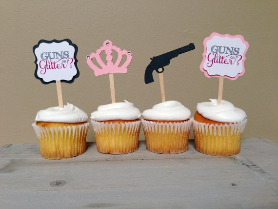 GUNS OR GLITTER - Gender reveal baby shower Cupcake Toppers (12 toppers)