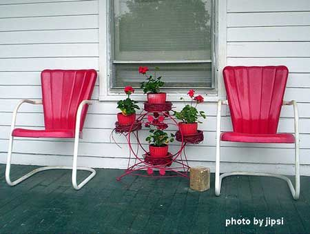 Chairs: Red, Outdoor, Garden Furniture, Patio, Metal Chairs, Vintage Metal, Vintage Garden, Lawn Chairs, Front Porches