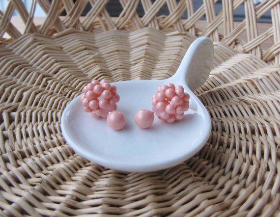 Double sided earrings coral stud earrings