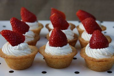 Cookie strawberry tarts - I'll just have to add some strawberry jam to the cool whip so it's pink. :)