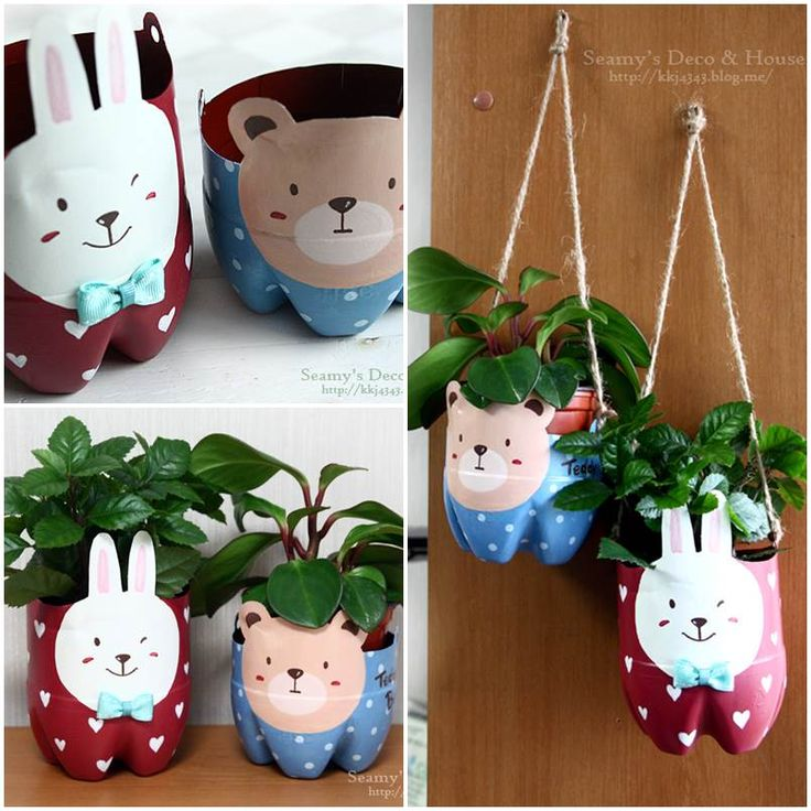 Diy plastic bottle pet pots home decor diy pinterest for Home decor using plastic bottles