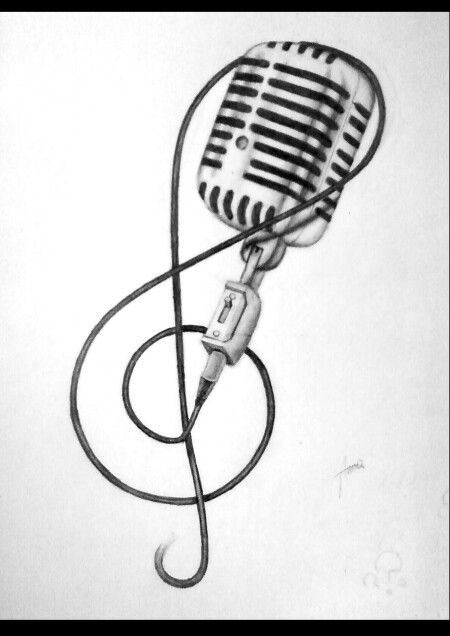 Music note and microphone tattoo sketch