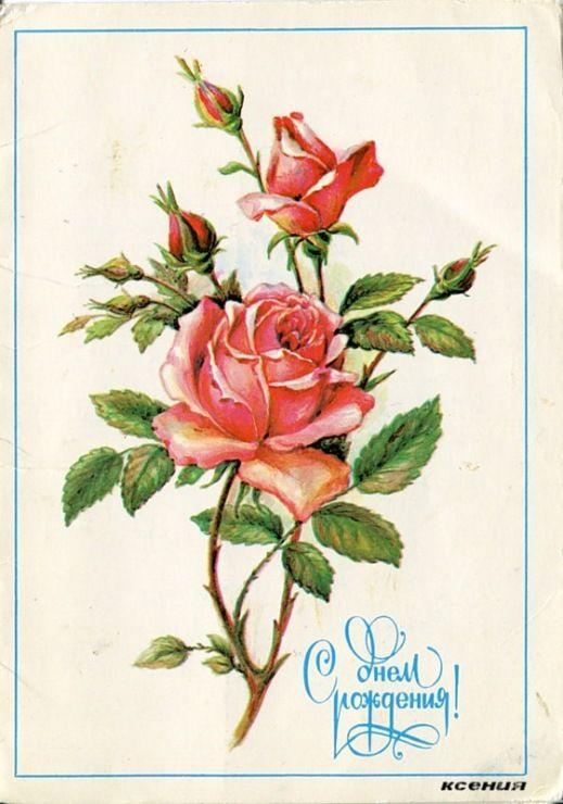 Подписанные открытки с розами