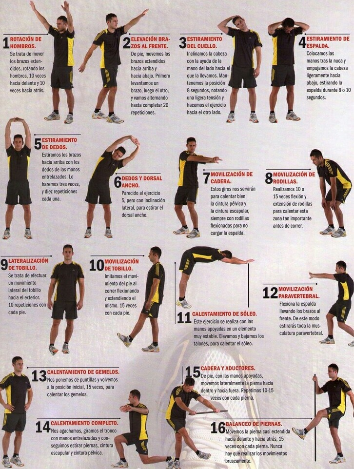 Ejercicios de calentamiento workout pinterest for Mundo fitness gym