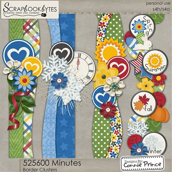 525,600 Minutes - Border Clusters :: Page Edges :: Embellishments :: SCRAPBOOK-BYTES