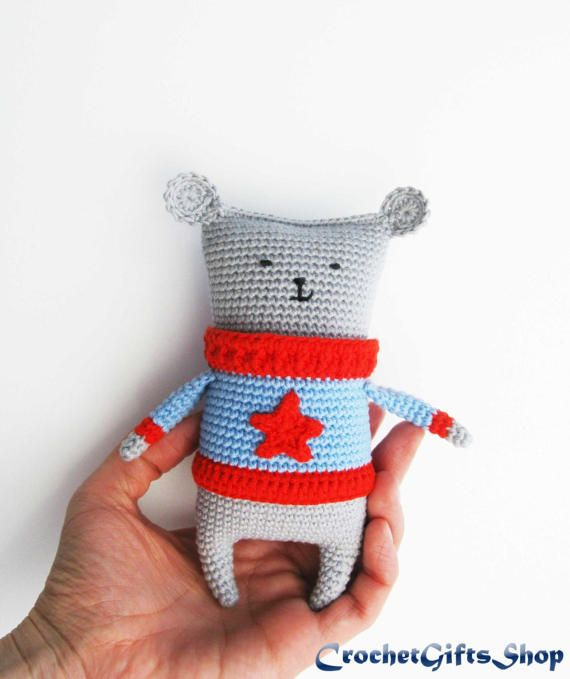 Amigurumi Mouse in sweater Crochet pattern Toys Digital