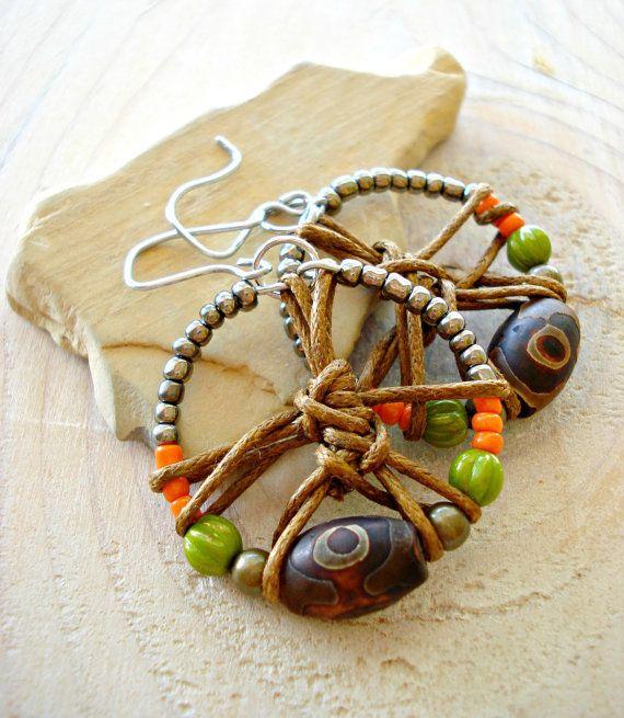 Hippie Earrings  Handmade Tribal Earrings  Boho by HandcraftedYoga,